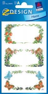 Schmucketiketten Rahmen mit Schmetterlingen