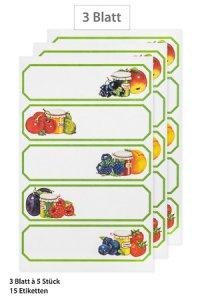 Schmucketiketten Grüner Rahmen mit Obst