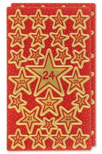 Weihnachtsetiketten Adventskalender 1-24 goldene Sterne