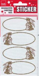 Weihnachtsetiketten Goldener Rahmen mit Engel beglimmert