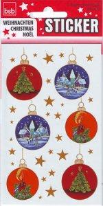 Weihnachtsetiketten Weihnachtskugeln mit Wintermotiv