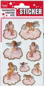 Weihnachtsetiketten Engel auf Wolke beglimmert