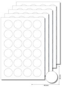 Etiketten rund 40 mm weiß - 5 Blatt A4
