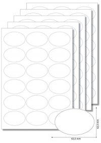 Etiketten oval 63,5 x 42,3 mm weiß -  5 Blatt A4
