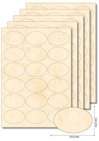 Etiketten oval 63,5 x 42,3 mm beige marmoriert - 5 Blatt A4