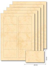Etiketten 82 x 52 mm beige marmoriert - 5 Blatt A4