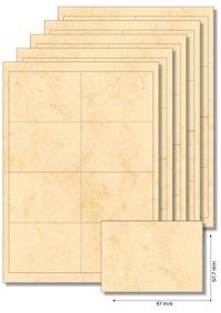 Etiketten 97 x 67,7 mm beige marmoriert - 5 Blatt A4