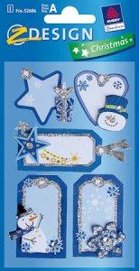 Geschenkaufkleber beglimmert, blau