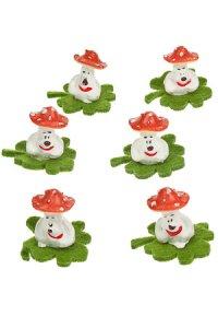 Miniaturen zum Aufkleben Glückspilz auf Klee - 6er Pack