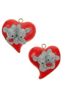 Miniaturen zum Anhängen Mäuschen auf Herz - 2er Set