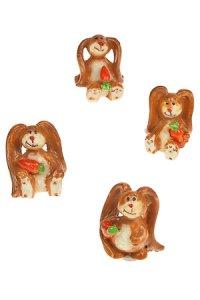 Miniaturen zum Aufkleben Häschen mit Möhre - 4er Set
