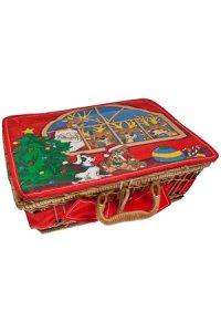 Weihnachtskorb groß Rentiere und Weihnachtsmann