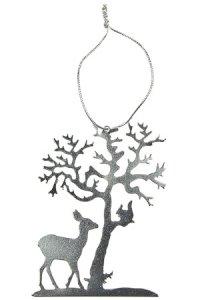 Metallanhänger Chrom Baum mit Reh