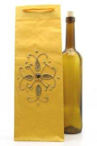 Flaschentasche gelb mit Flasche