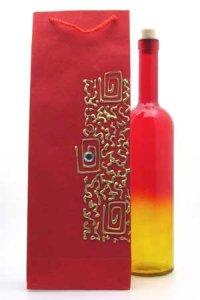 Flaschentasche rot mit Flasche