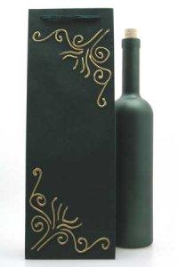 Flaschentasche dunkelgrün mit Flasche