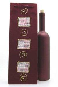 Flaschentasche dunkelrot mit Flasche