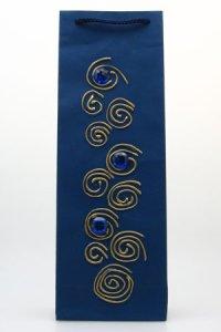 Handgefertigte Flaschentasche dunkelblau