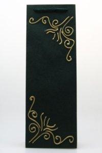 Handgefertigte Flaschentasche dunkelgrün