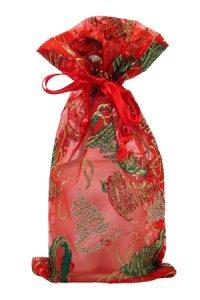Organzatasche rot mit Ornamenten, 13 x 23 cm