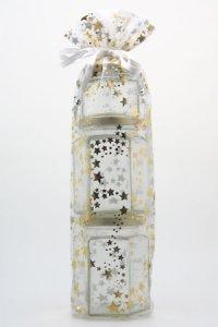 Organzatasche weiß mit Sternen, 12 x 36 cm