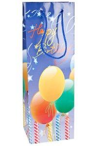 Flaschentasche Happy Birthday blau