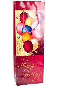 Flaschentasche Happy Birthday weinrot