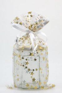 Organzatasche weiß mit Sternen, 13 x 23 cm