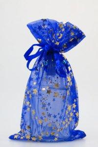 Organzatasche blau mit Sternen, 13 x 23 cm