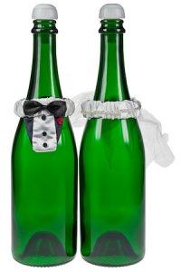 Flaschendeko Schleier und Frack