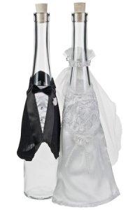 Flaschendeko Brautkleid und Frack