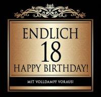 Flaschen-Etikett Endlich 18 Happy Birthday! klassisch-el.
