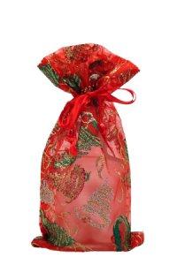 Organzatasche rot mit Ornamenten, 11 x 18 cm