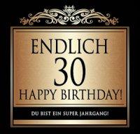 Flaschen-Etikett Endlich 30 Happy Birthday! klassisch-el.