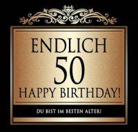 Flaschen-Etikett Endlich 50 Happy Birthday! klassisch-el.