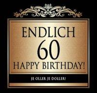 Flaschen-Etikett Endlich 60 Happy Birthday! klassisch-el.
