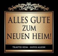 Flaschen-Etikett Alles Gute zum neuen Heim! klassisch-el.