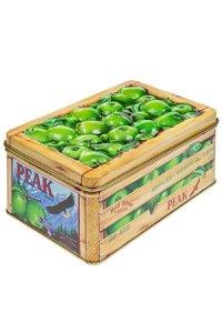 Metalldose mit Relief grüner Apfel