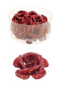 Miniatur zum Aufkleben Rote Rose - 24er Pack (2. Wahl)