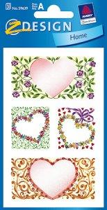 Schmucketiketten Blumen-Herzen