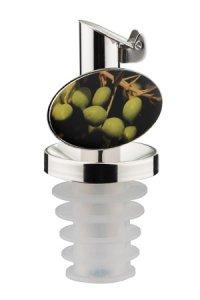 Ölausgießer Edelstahl mit Lamellenstopfen Oliven