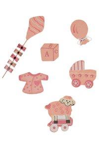 Miniaturen zum Aufkleben Babymotive Mädchen - 6er Set