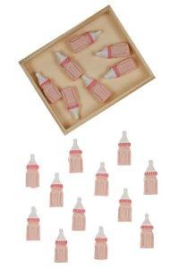 Miniatur zum Aufkleben Babyflasche rosa - 12er Pack