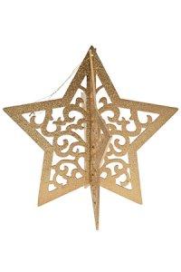 Anhänger Stern 3D gold aus Holz
