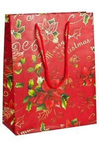 Geschenktasche Merry Christmas mit Goldprägung rot