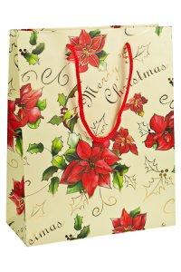 Geschenktasche Merry Christmas mit Goldprägung creme