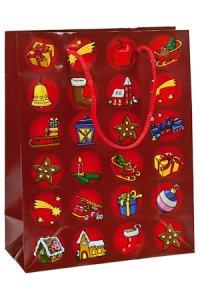 Geschenktasche Weihnachtsmotive rot