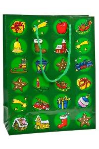Geschenktasche Weihnachtsmotive grün