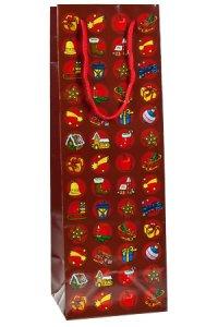Flaschentasche Weihnachtsmotive rot, 12 x 10 x 35 cm