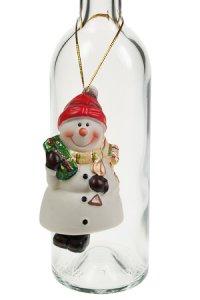 Glocken-Anhänger Schneemann aus Porzellan